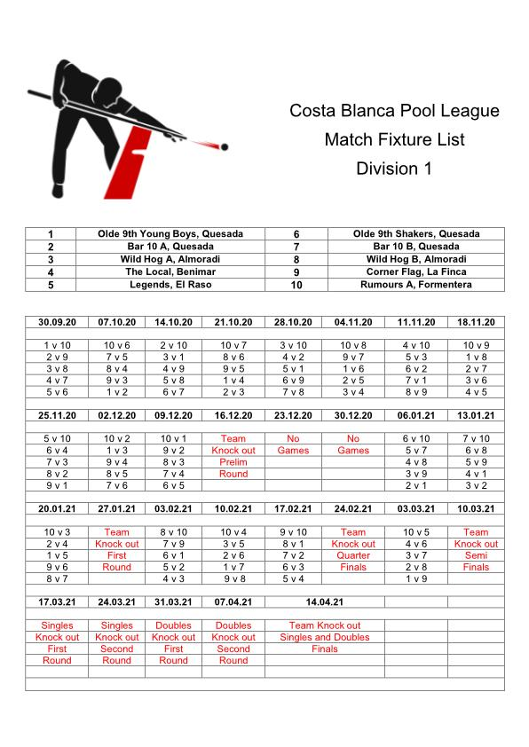 Wednesday Fixture List Division One