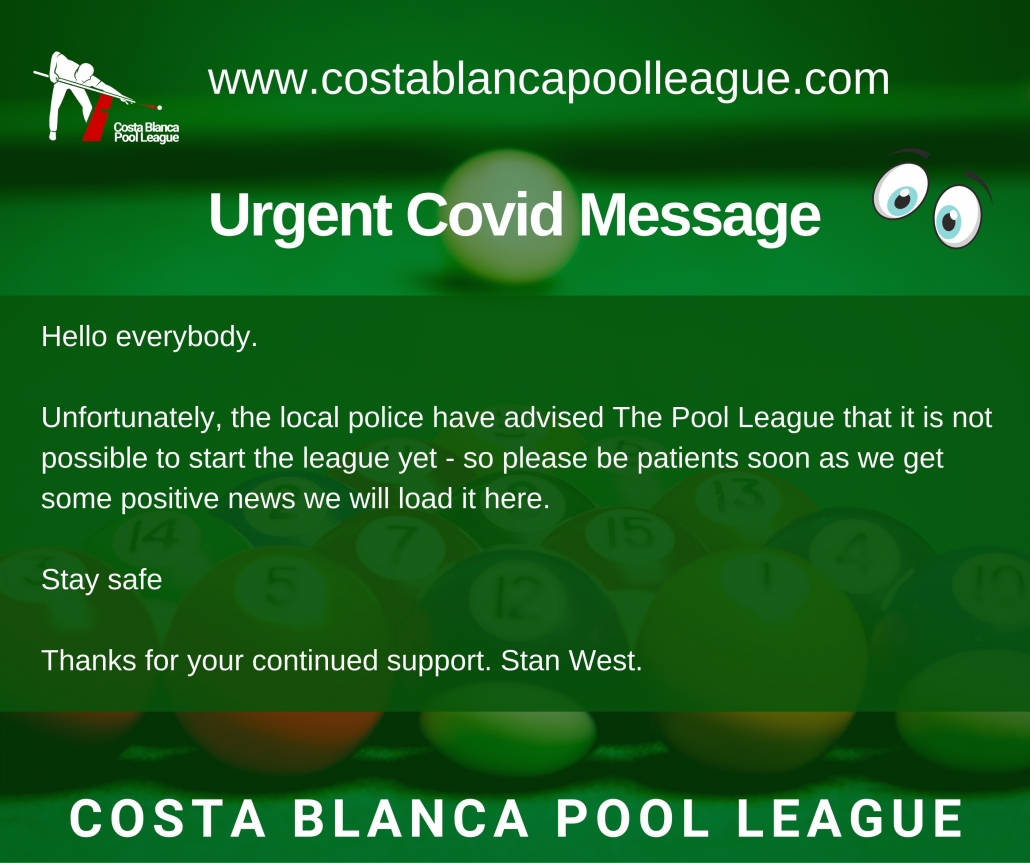 Costa Blanca Pool League Covid Announcement